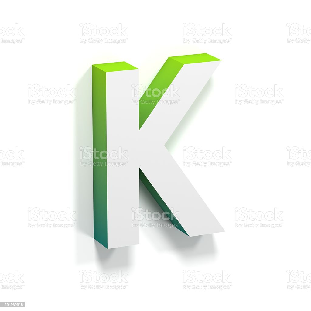 Green gradient and soft shadow letter K stock photo