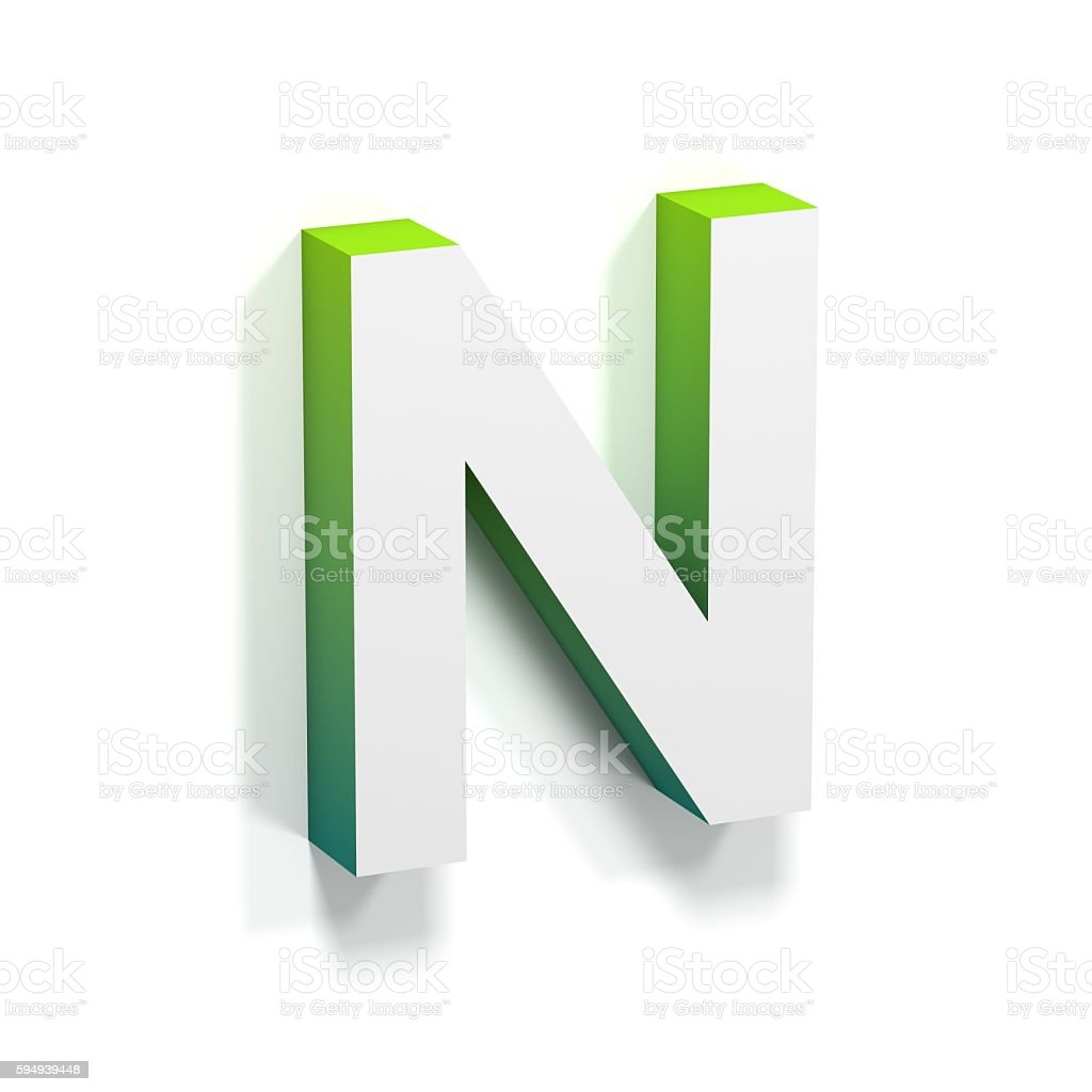Green gradient and soft shadow letter N stock photo