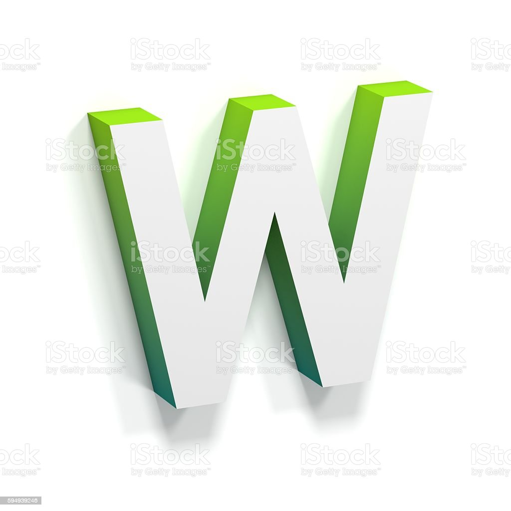 Green gradient and soft shadow letter W stock photo