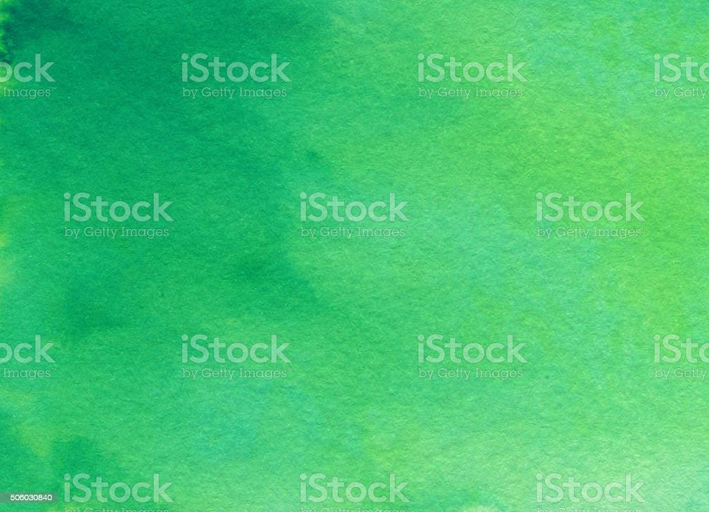 Green gradient background hand painted on paper stock photo