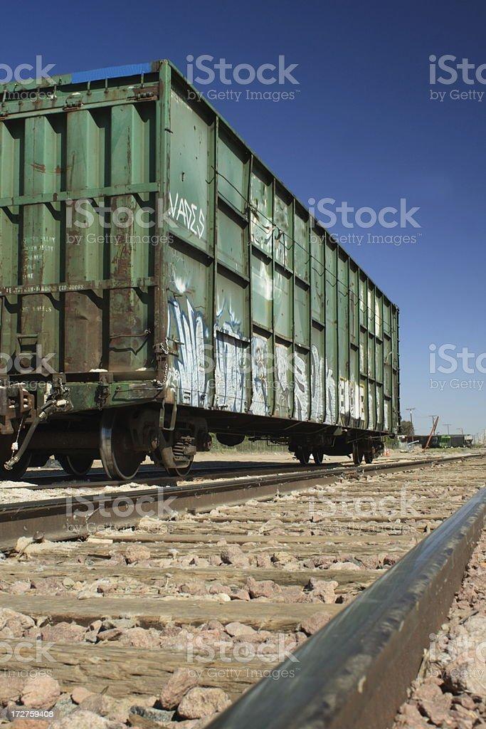 Green Graffiti Train stock photo