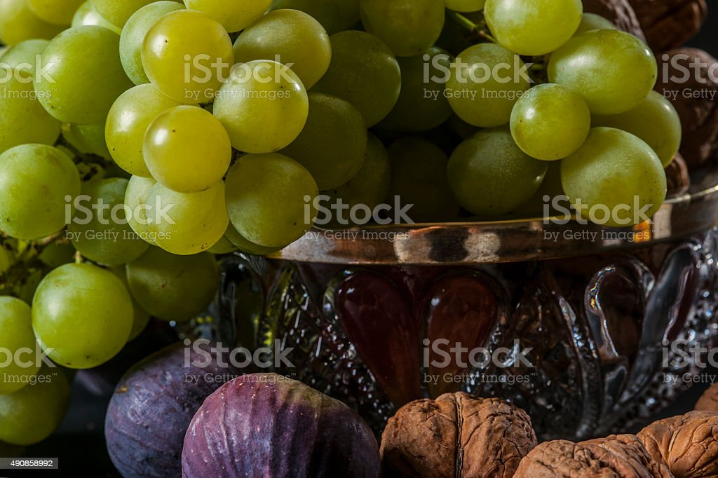 Green Grape , figs and nuts stock photo