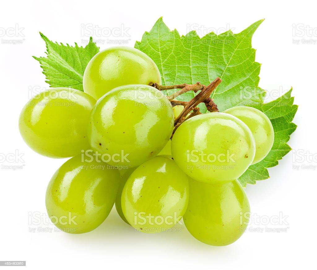 Green grape with leaf isolated on white background stock photo