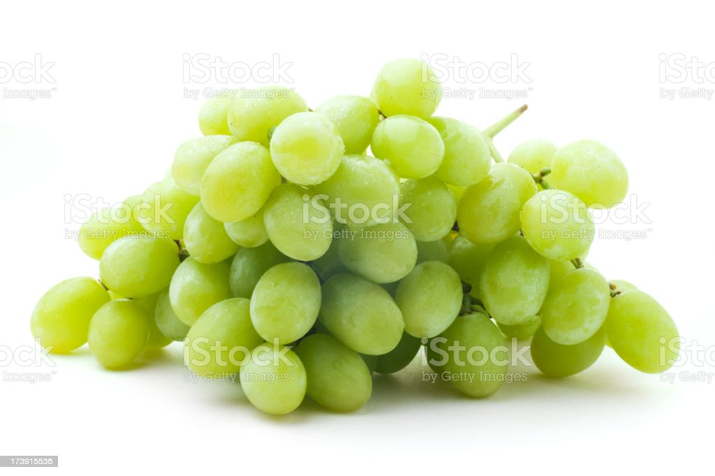 Green Grapes Isolated on White royalty-free stock photo