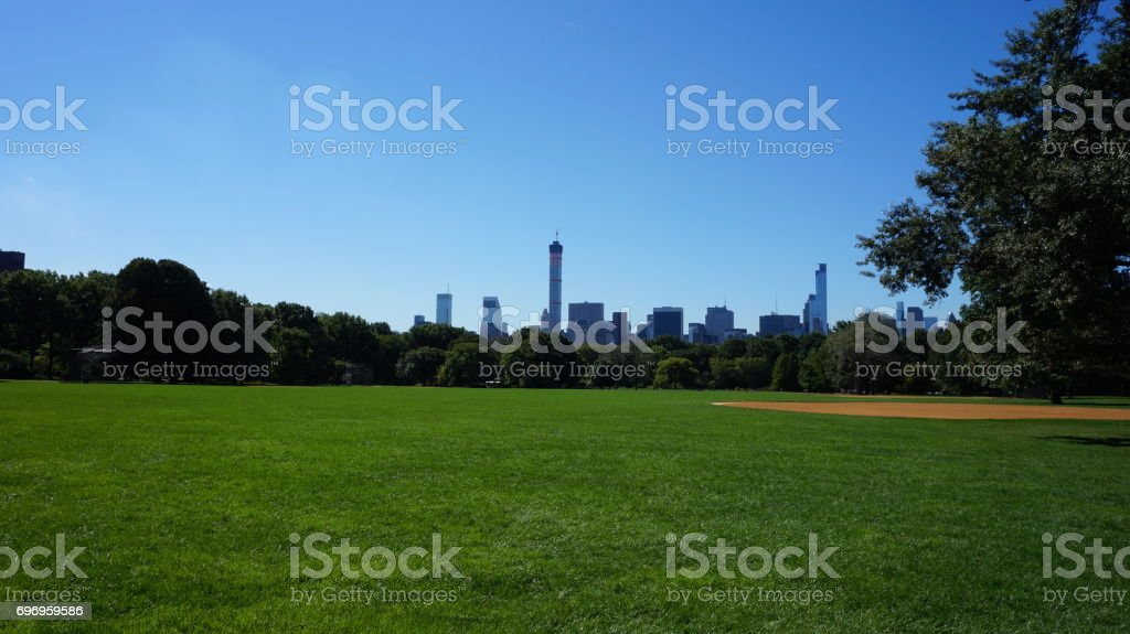 Green grass and buildings in central park, new york stock photo