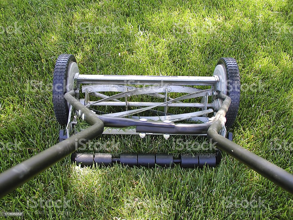 Green Grass and Lawnmower stock photo
