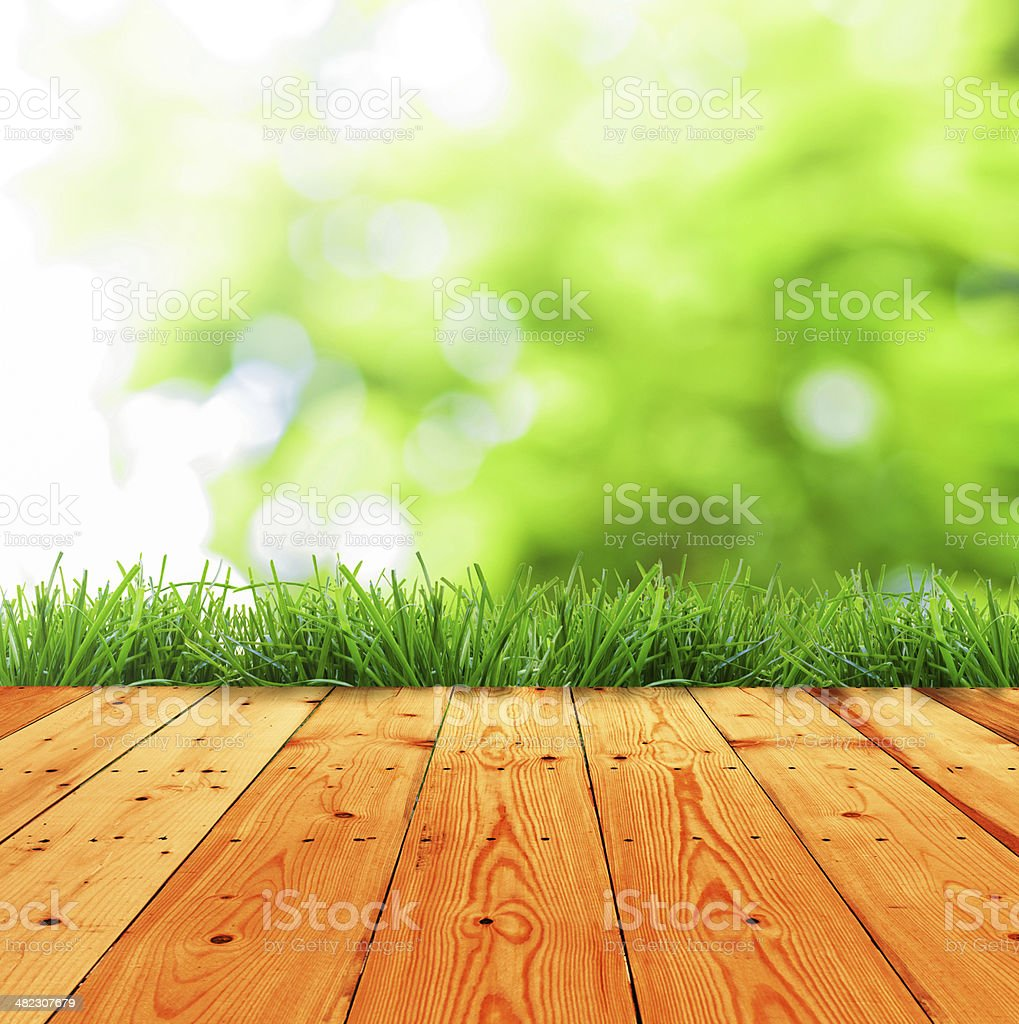 Green grass and wood floor in sunlight stock photo