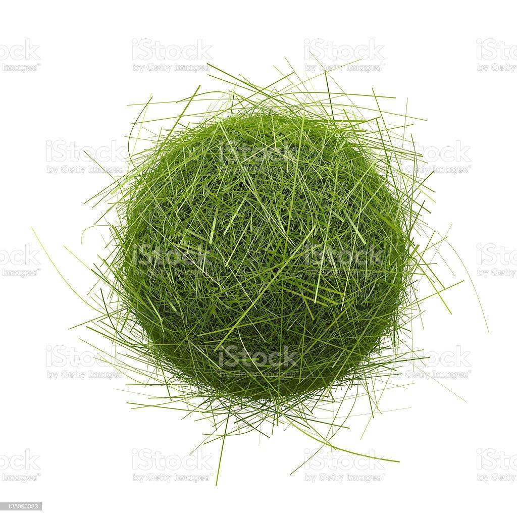 green grass ball on white background vector art illustration