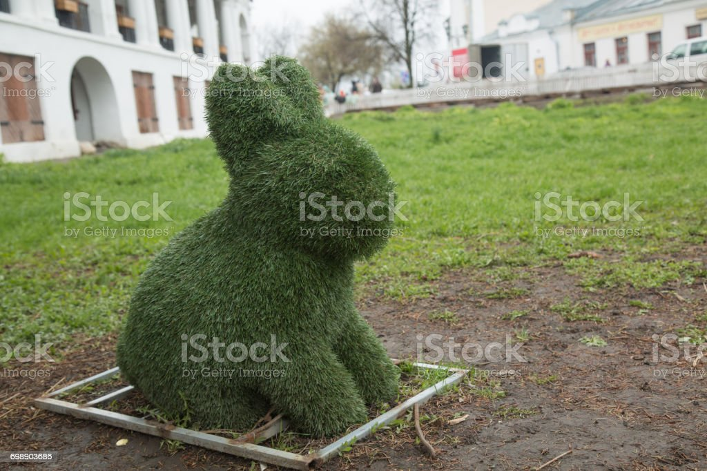 Green grass eastern bunny park stock photo