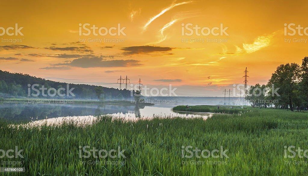Green Grass Field Landscape with river royalty-free stock photo