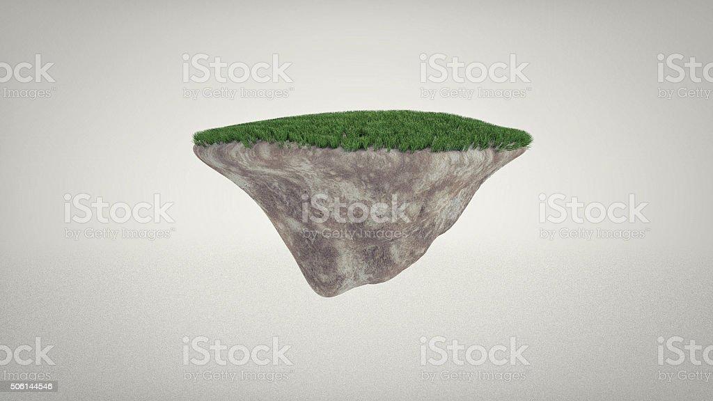 Green grass floating island stock photo