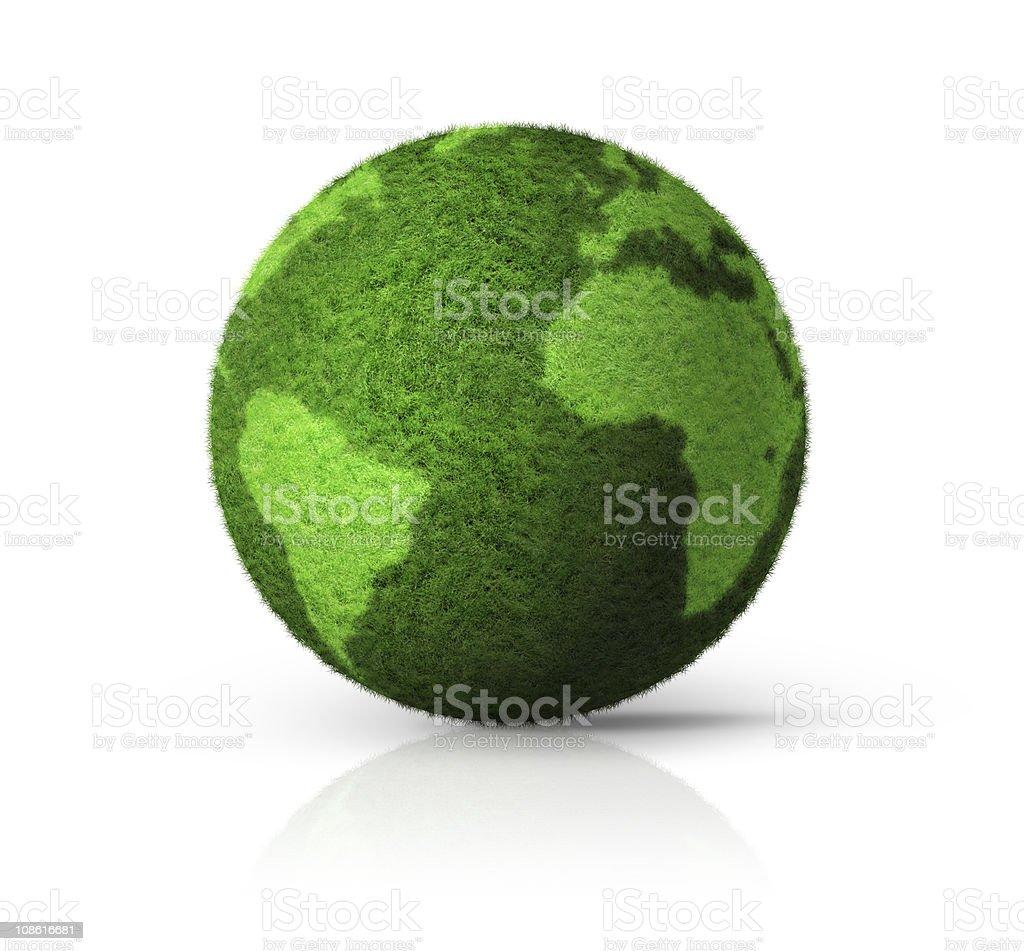 3D green grass globe royalty-free stock photo