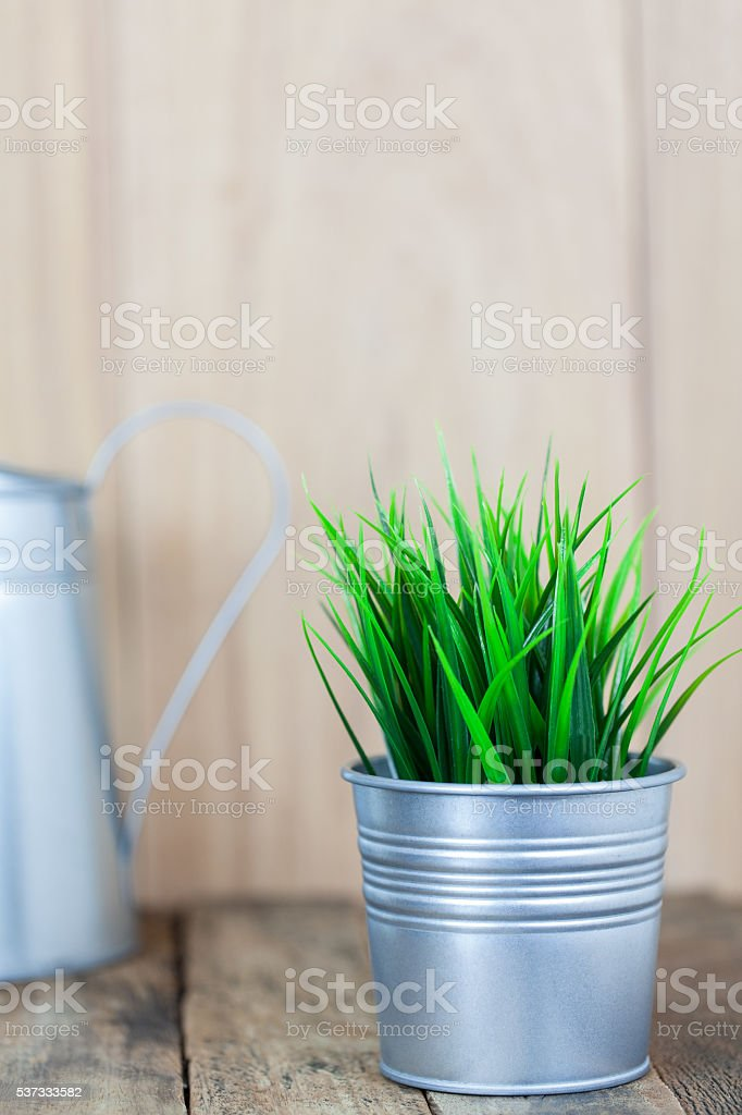 Green grass in metal pot on old wood table stock photo