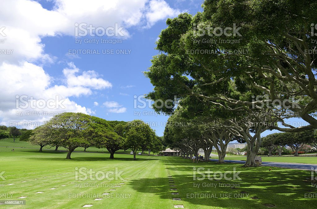 Green grass lawn at National Memorial Cemetery of the Pacific stock photo