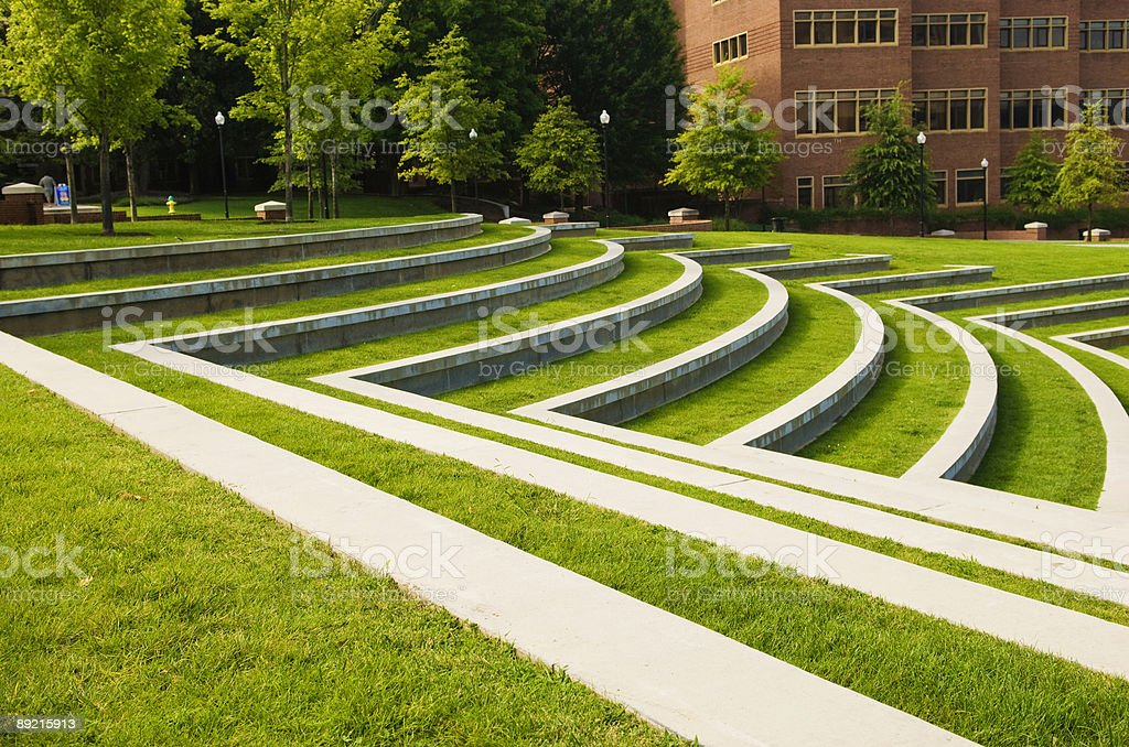 Green Grass Lawn with Rows of Steps at a Park royalty-free stock photo