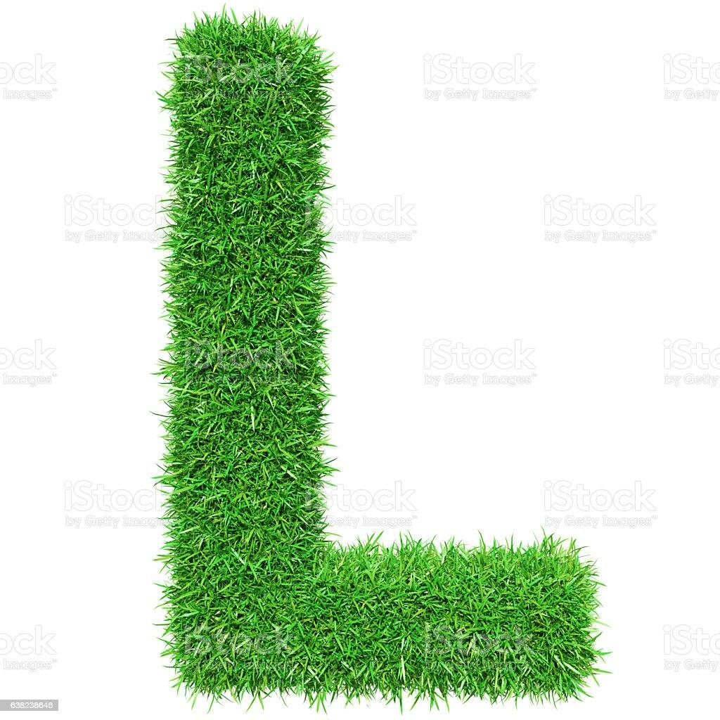 Green Grass Letter L stock photo