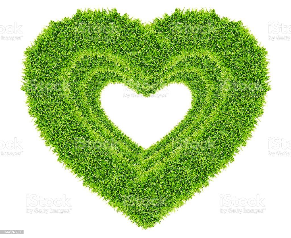 Amore cuore cornice verde erba isolati foto stock royalty-free