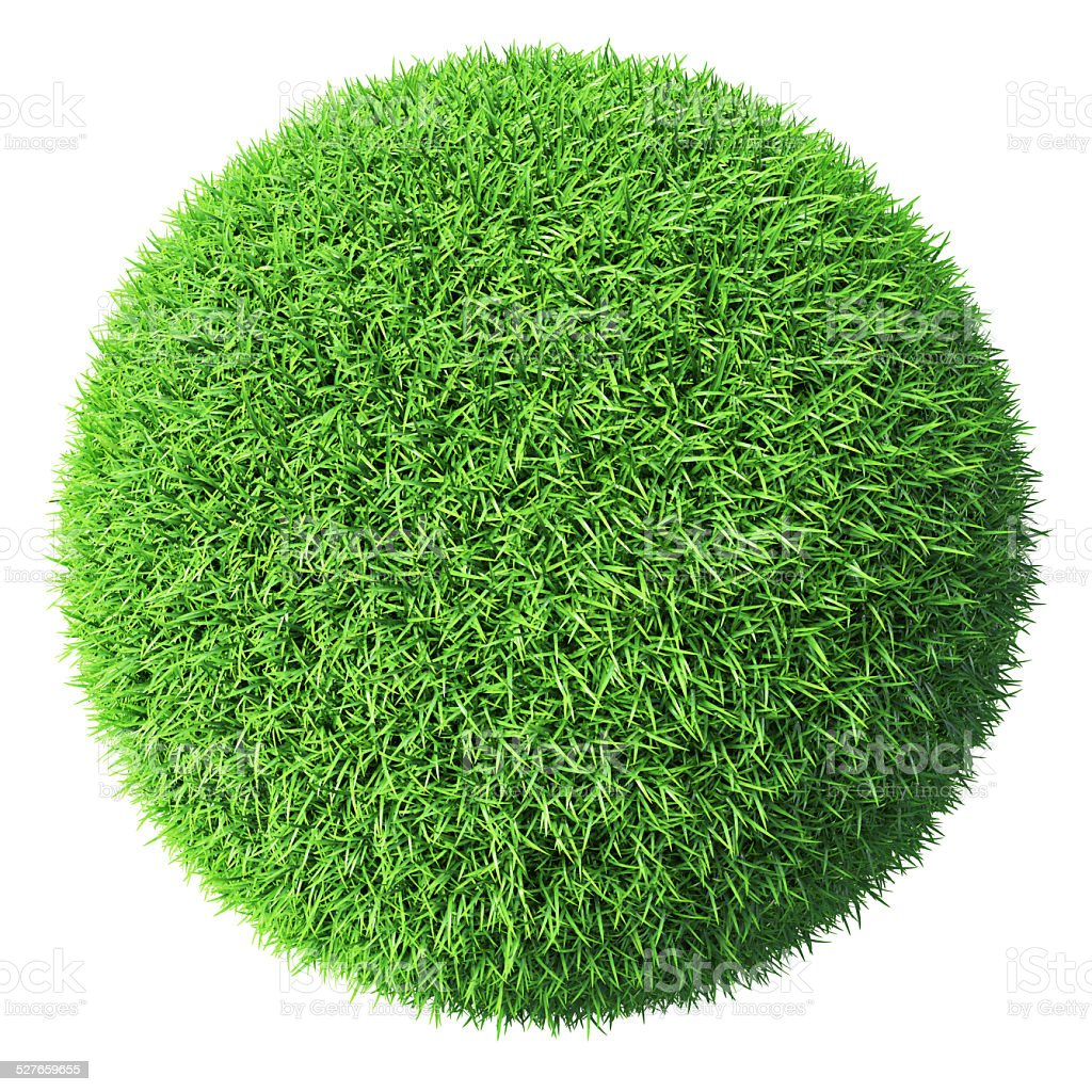 Green grass sphere isolated stock photo