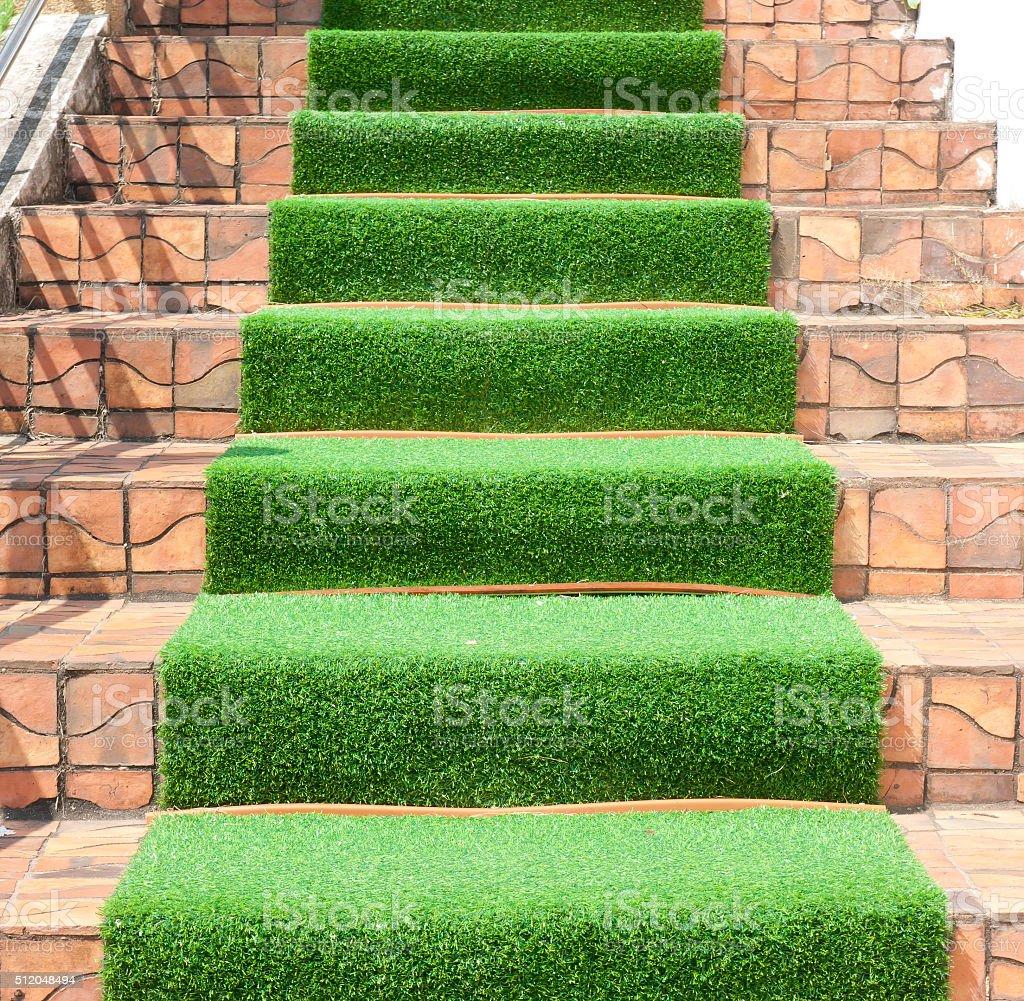 green grass staircase stock photo