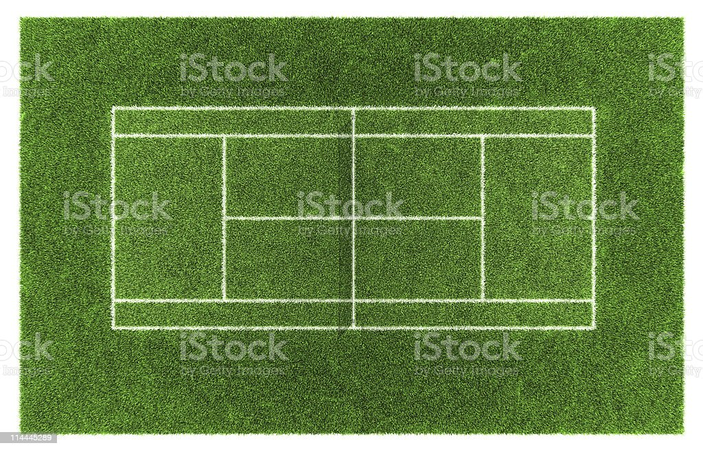 Green grass tennis court from a Birdseye view stock photo