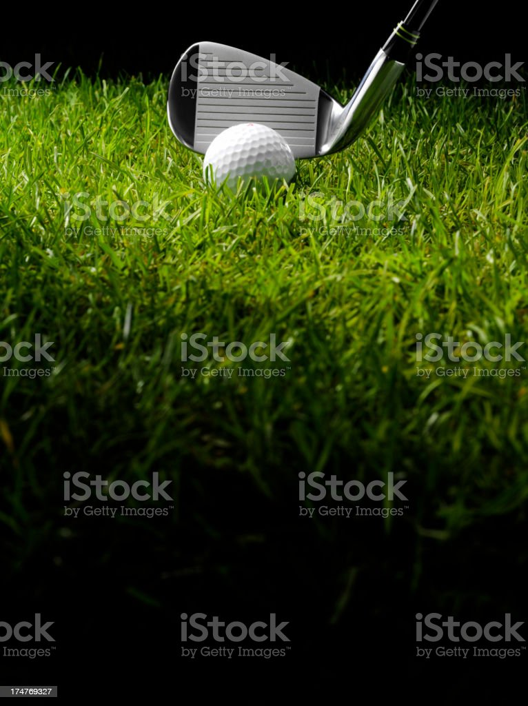 Green Grass with a Golf Club and Ball royalty-free stock photo