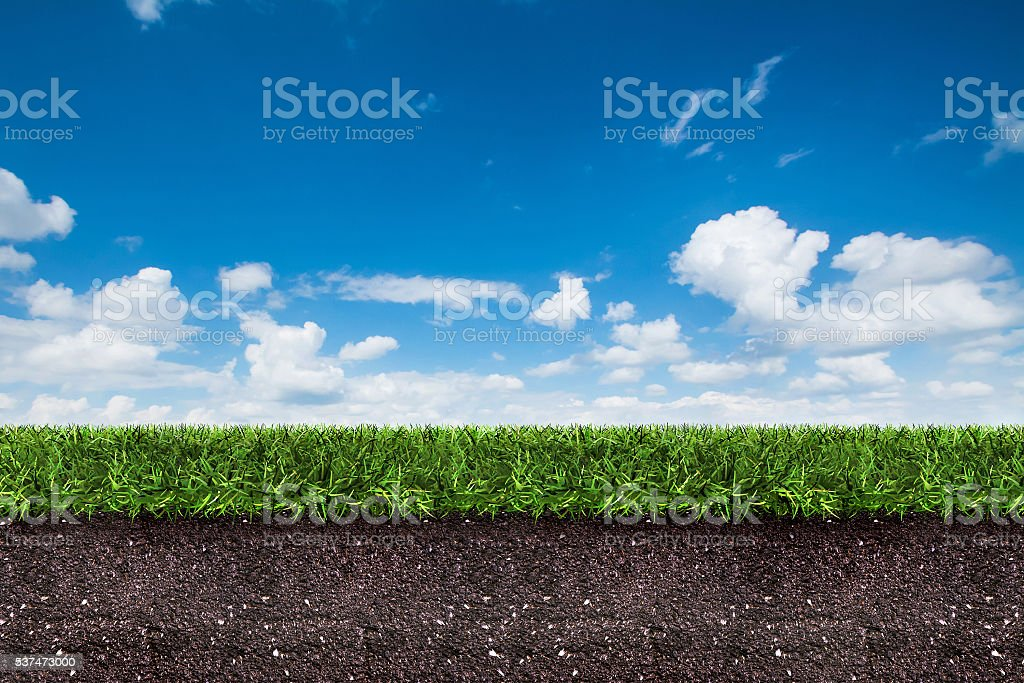 green grass with soil on blue sky. stock photo