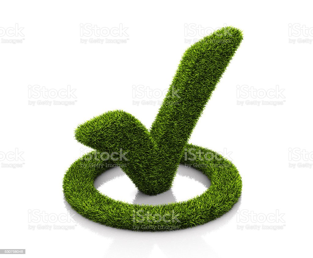 Green grassed check mark symbol in the circle on white stock photo