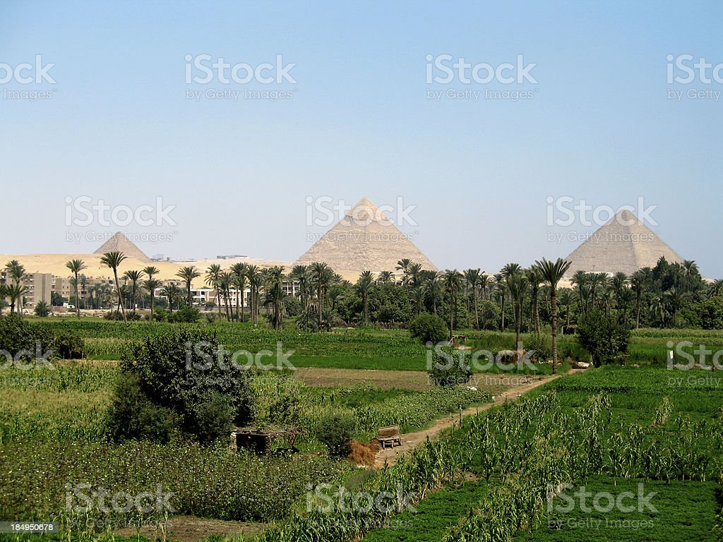 Green Great Pyramids stock photo