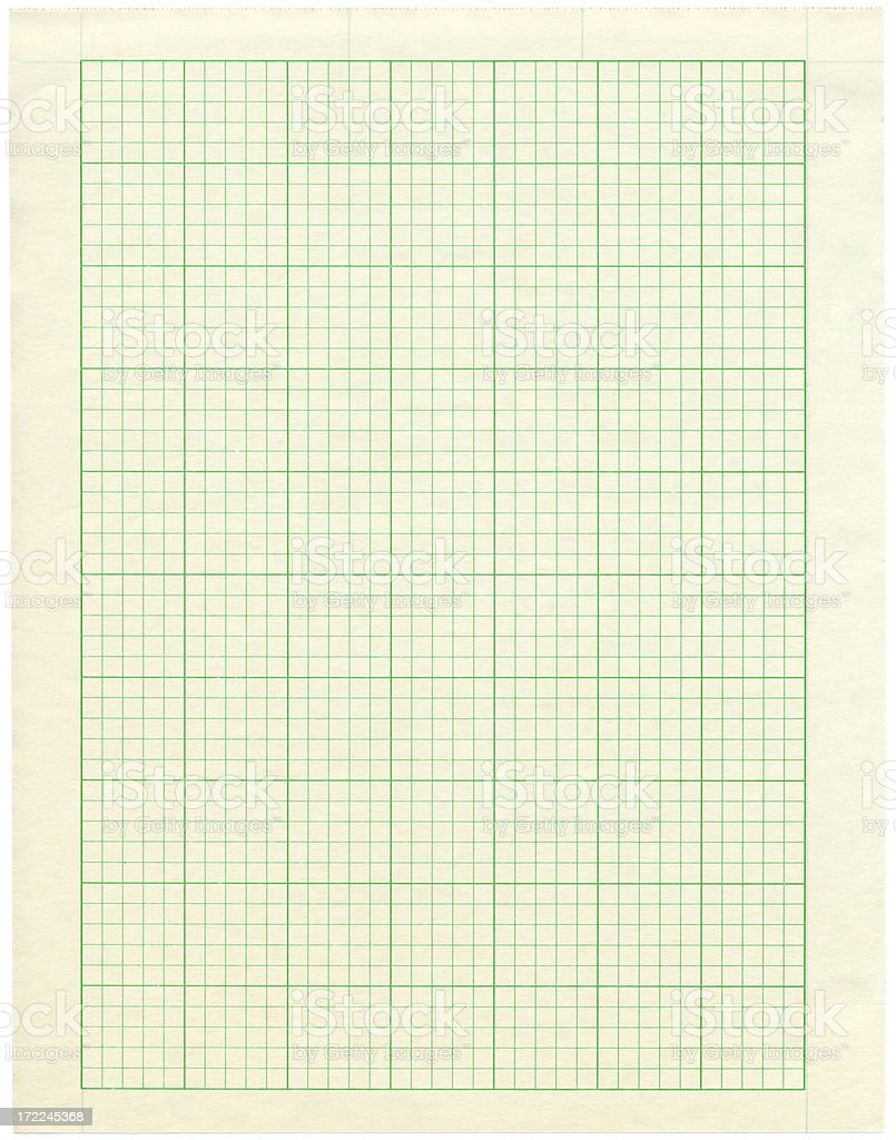 Green Grid Graph Paper Isolated on White royalty-free stock photo