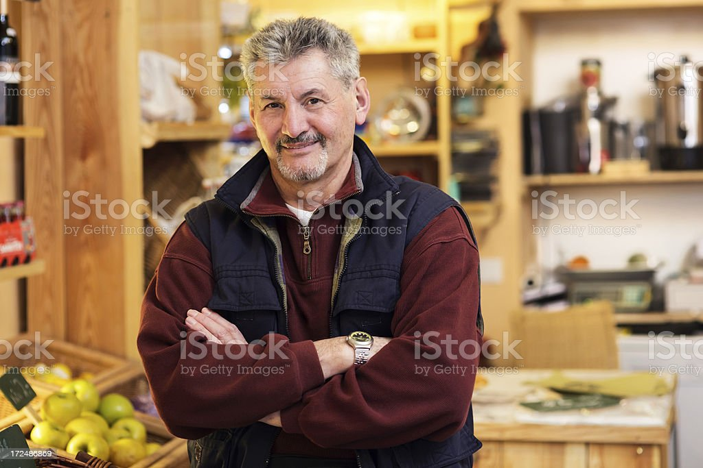 Green Grocer Senior small business owner stock photo
