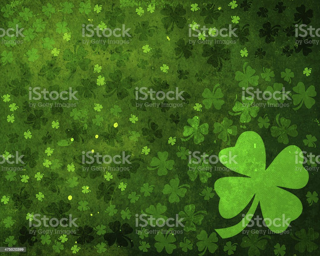 Green grunge shamrock background stock photo
