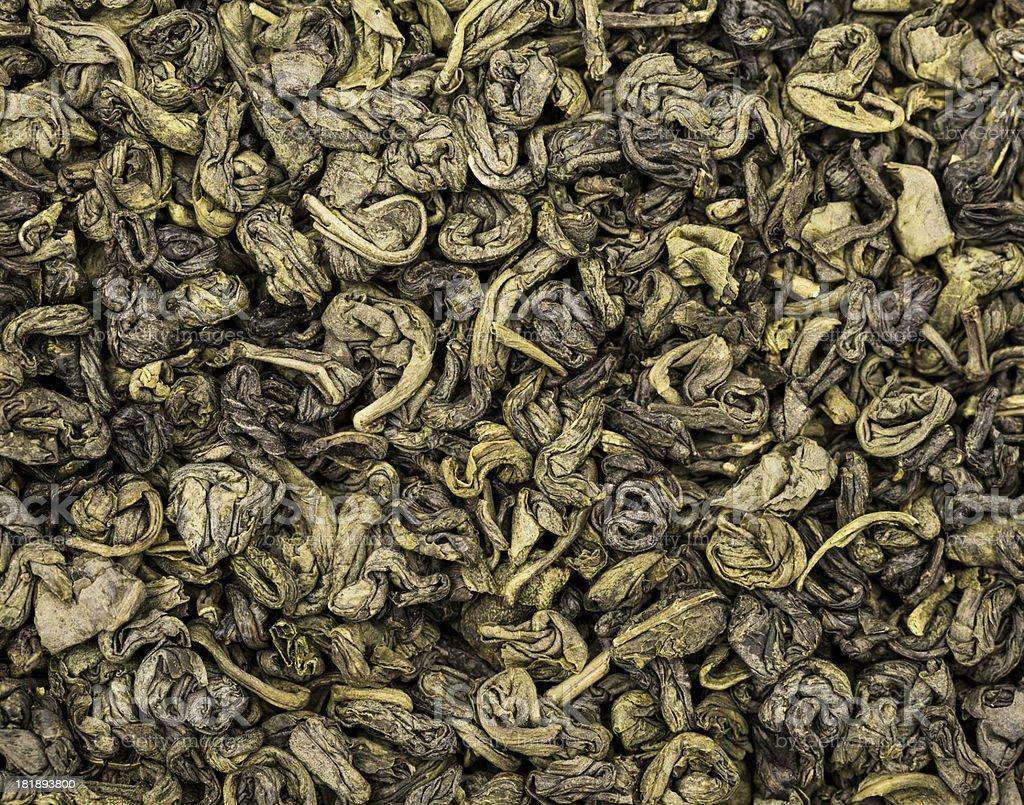 Green gunpowder tea stock photo