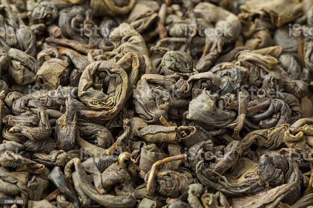 Green gunpowder tea stock photo