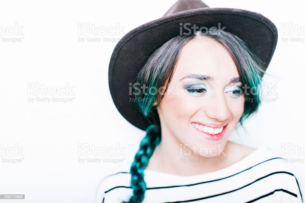 Green hair, don't care stock photo