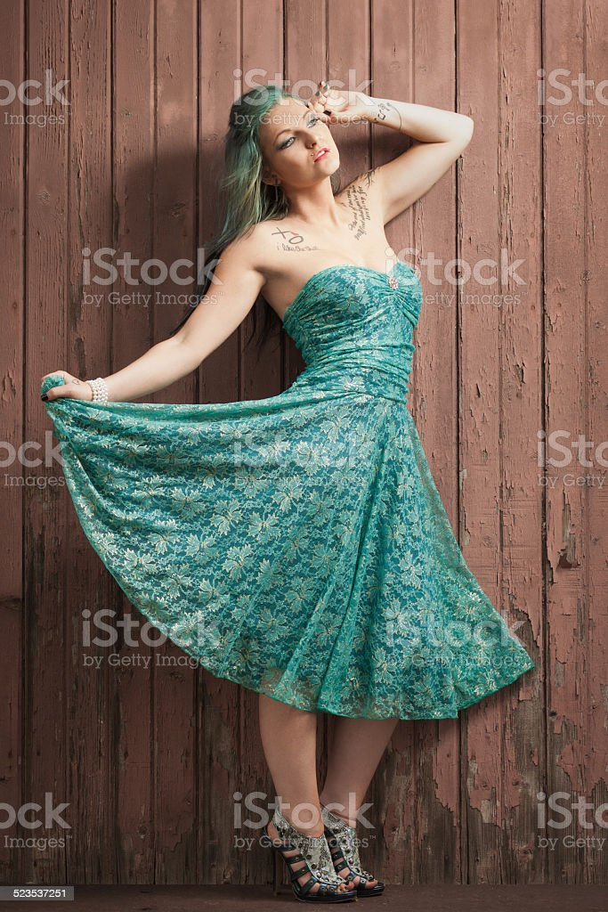 Green Hair, Green Dress stock photo