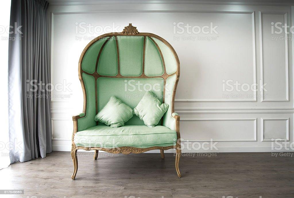 Green half-dome sofa stock photo