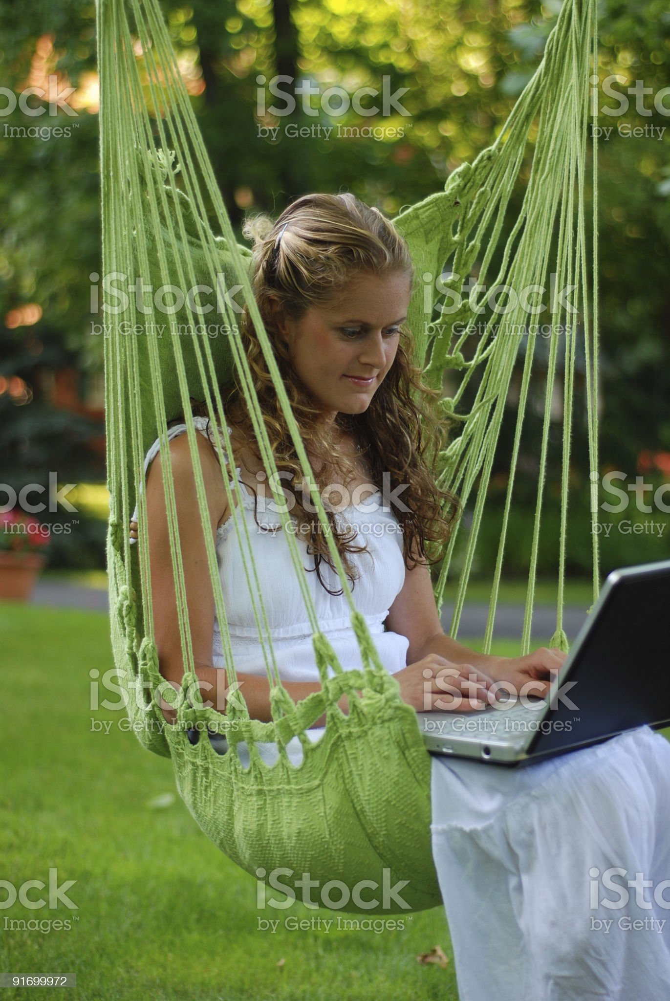 Green Hammock Laptop royalty-free stock photo
