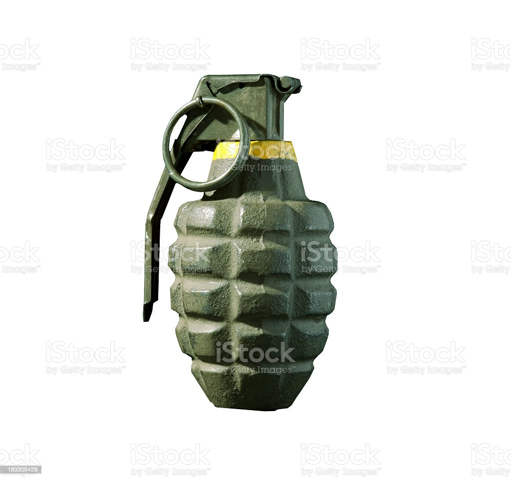 Green hand grenade isolated on white background stock photo