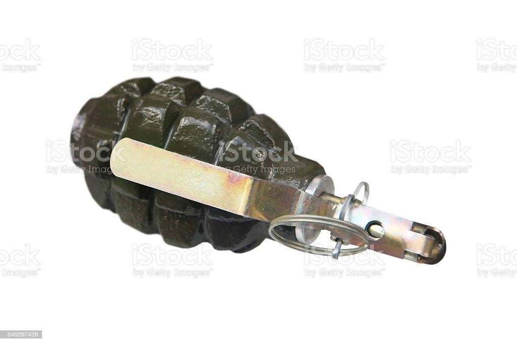 green hand grenade stock photo