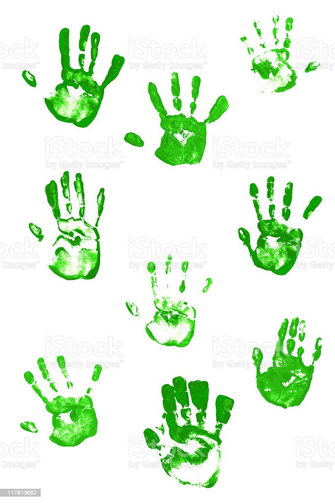 green hand prints royalty-free stock photo