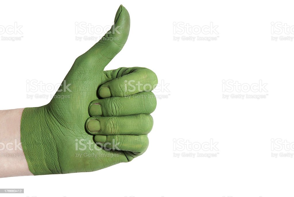 green hand showing thumb up royalty-free stock photo