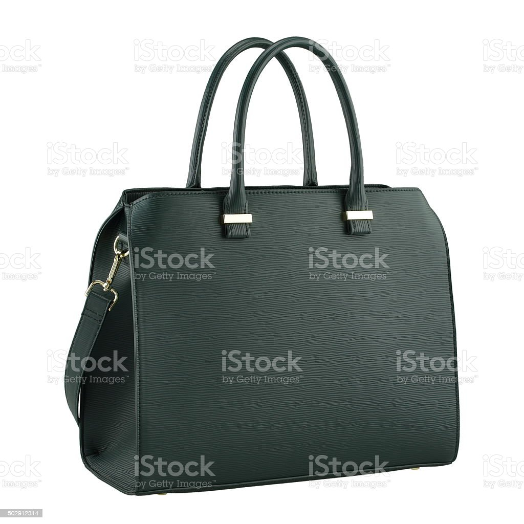 Green handbag on white background stock photo