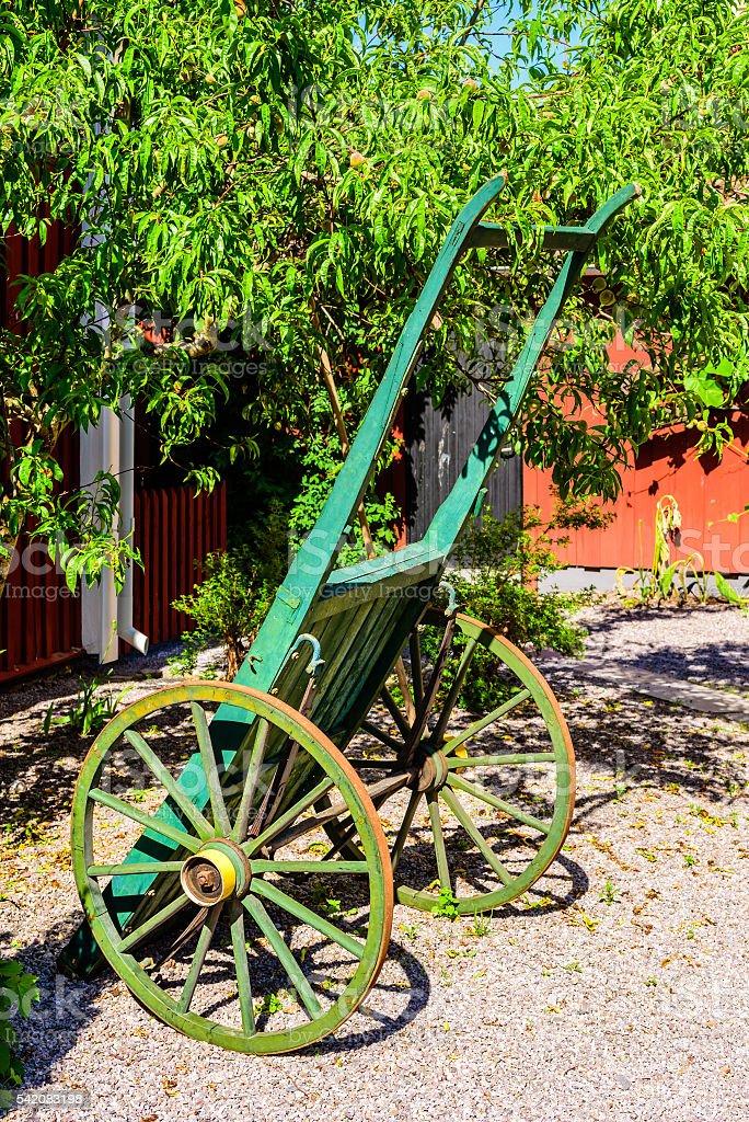 Green handcart stock photo