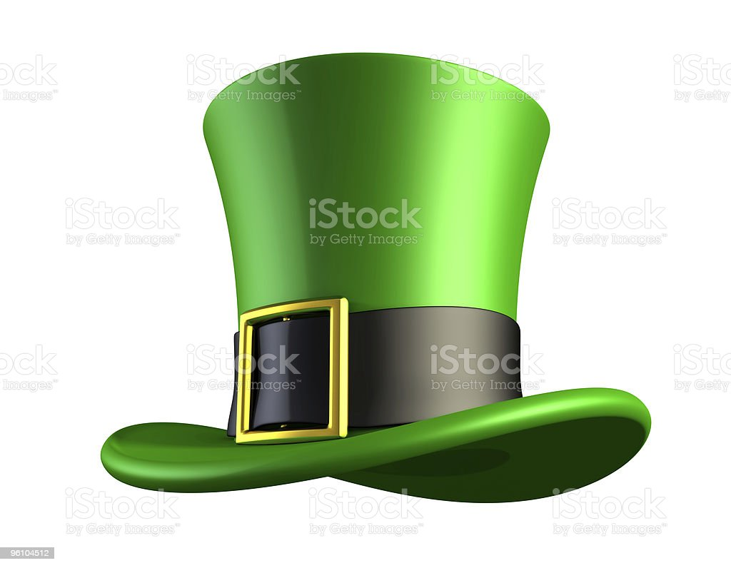 Green hat of a leprechaun stock photo