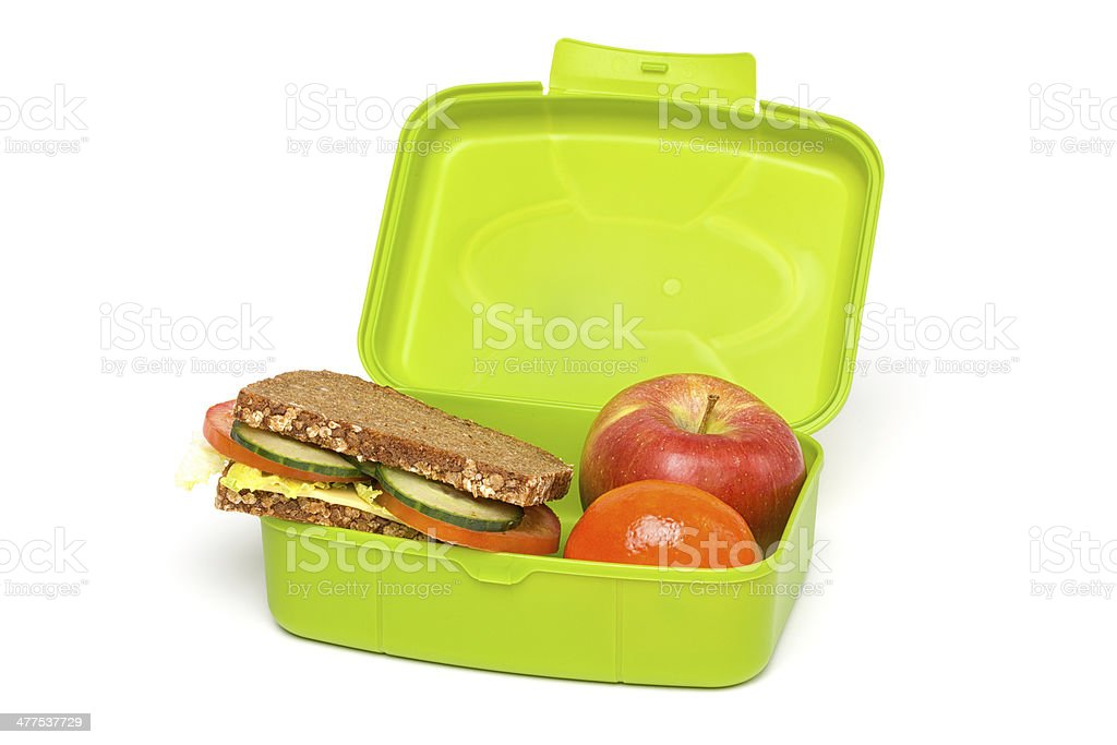 Green Healthy Lunch Box, Isolated on White stock photo