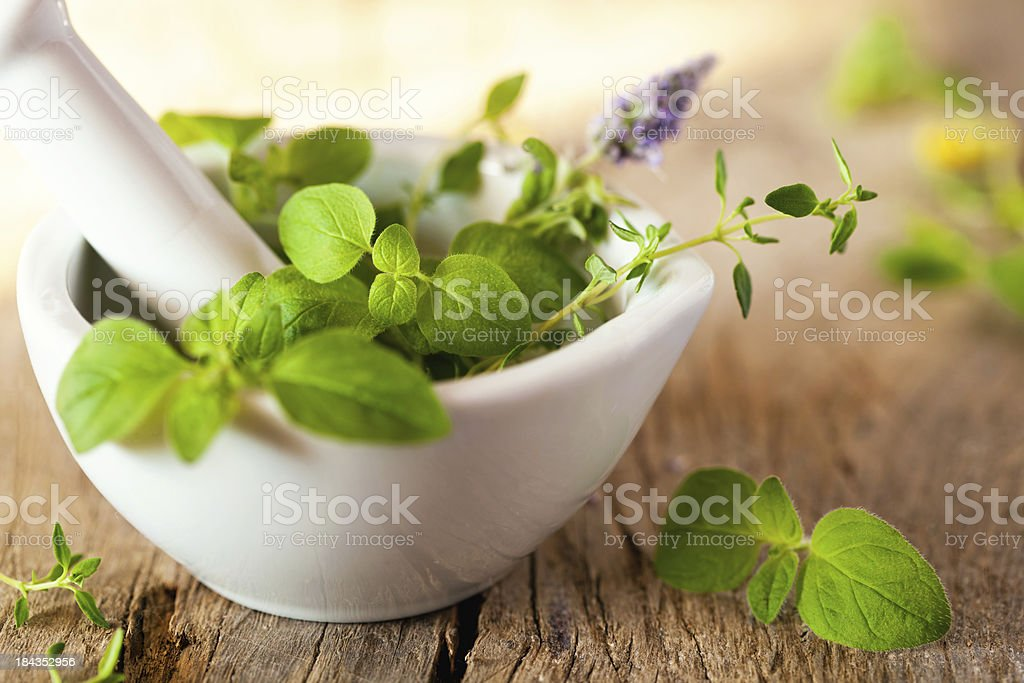 Green herbs in a white mortar. On a wooden plank. stock photo