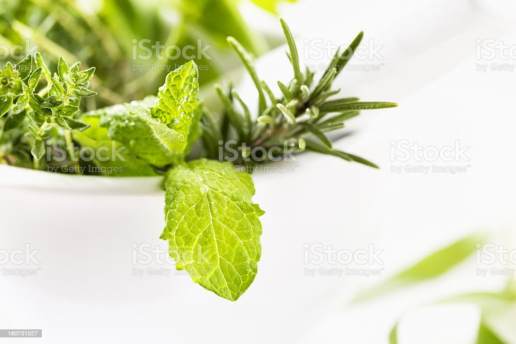 green herbs in mortar freshness royalty-free stock photo