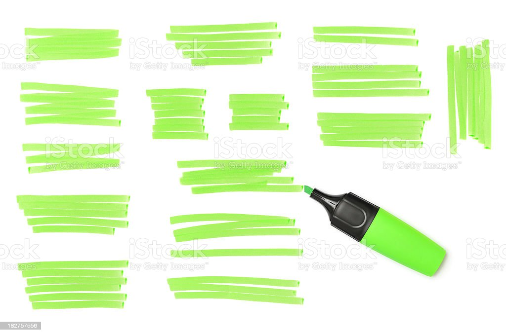 Green Highlighter marks and marker, isolated on white stock photo