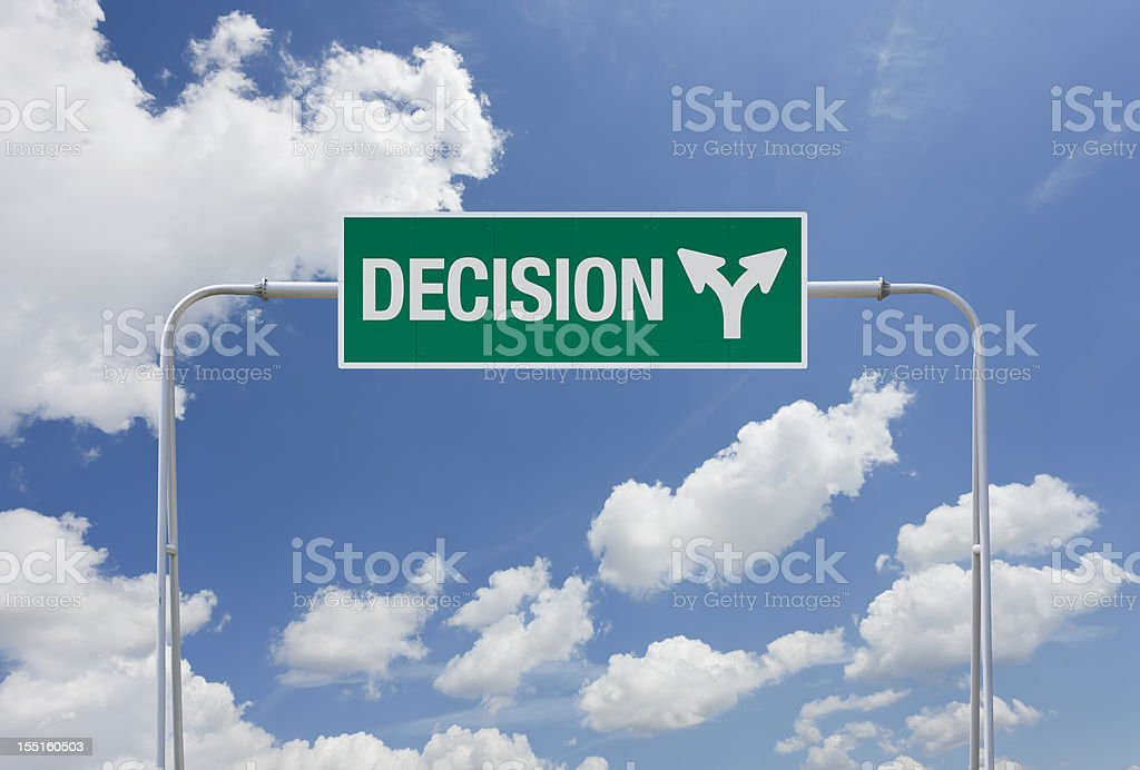 Green highway sign with exit for decision royalty-free stock photo