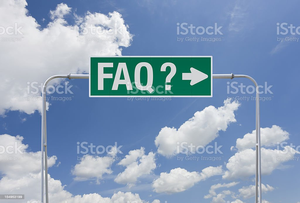 Green highway sign with exit for FAQ royalty-free stock photo